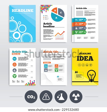 Brochures and A4 flyer leaflets. Attention and radiation icons. Chemistry flask sign. CO2 carbon dioxide symbol. Infographics design set. Vector - stock vector