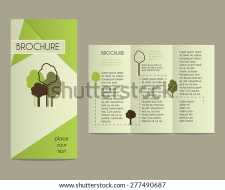 Brochures and flyer design template in polygonal style concerning to ecology, organic theme with infographic elements. Vector illustration