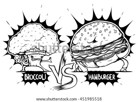 Brockoly vs Burger black and white
