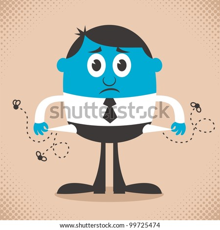 Broke: Conceptual illustration depicting bankruptcy. No transparency and gradients used. - stock vector