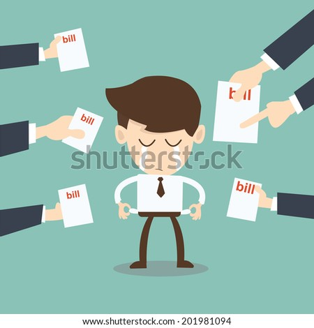 broke man hassled by creditors holding bills, signs, payment demands - stock vector
