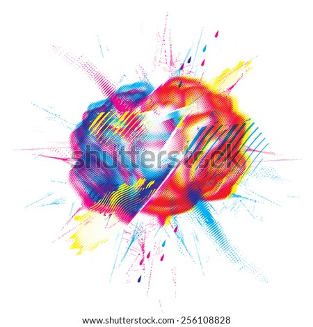 Broken brain design element - stock vector