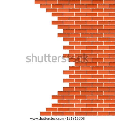 Broken brick wall, vector eps10 illustration - stock vector