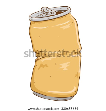 Broken Can Soft Drink With Color And Doodle Or Sketchy Style