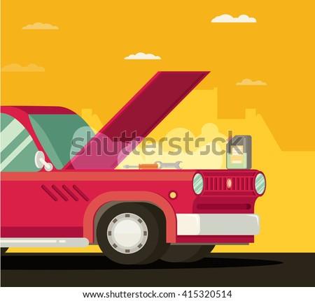 Broken car. Vector cartoon flat illustration - stock vector