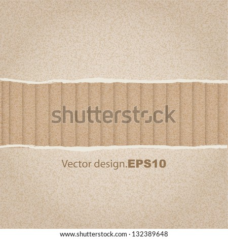 broken cardboard texture or background. vector design - stock vector