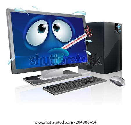 Broken cartoon desktop computer, cartoon of a poorly computer with a bursting thermometer in its mouth. Could be a broken computer or one that has a virus or other malware - stock vector