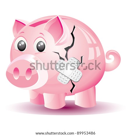 Broken cracked piggy bank that is taped together for the symbol of troubled finances. - stock vector