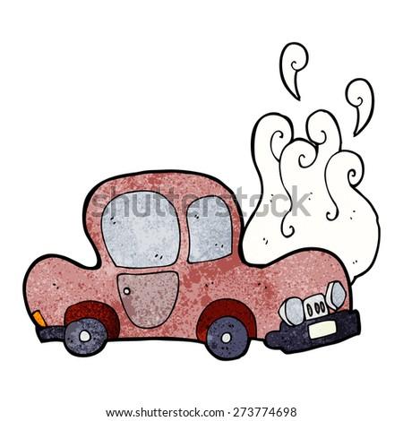 broken down car cartoon - stock vector