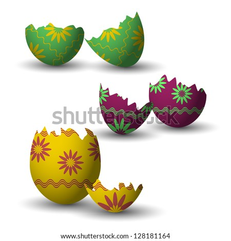 broken easter eggs collection - stock vector