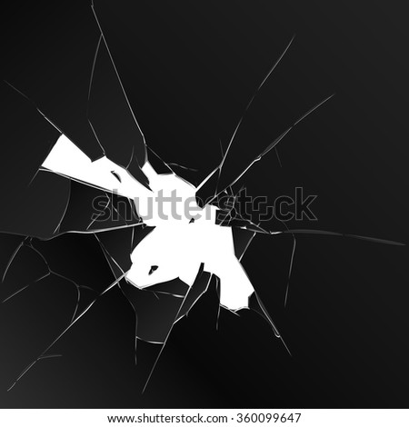 Broken glass. black on a white background. vector