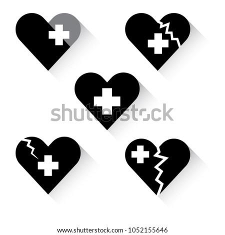 Broken Heart Healing Vector Set Icons Stock Vector 2018 1052155646