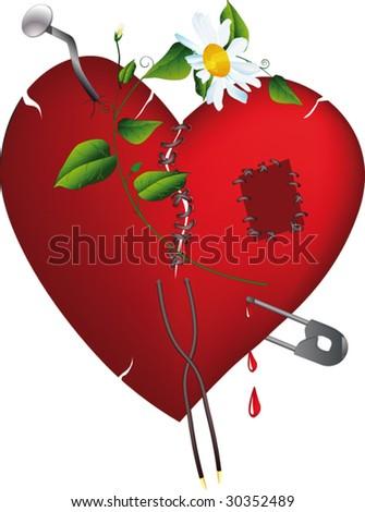broken heart and love - stock vector