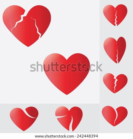 broken heart,Heart splitting and breaking apart ,love - stock vector