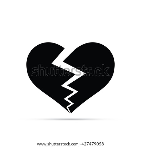 Broken Heart Icon - stock vector