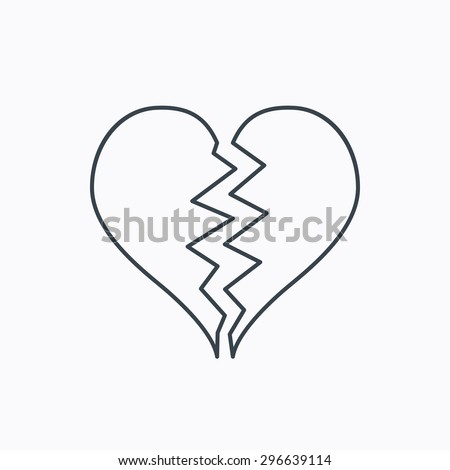 Broken heart icon. Divorce sign. End of love symbol. Linear outline icon on white background. Vector - stock vector