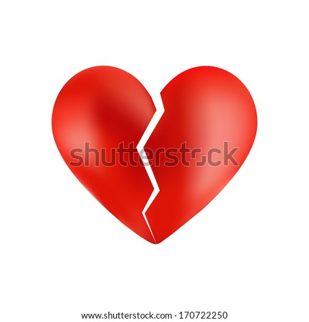 Broken heart isolated on white  - stock vector