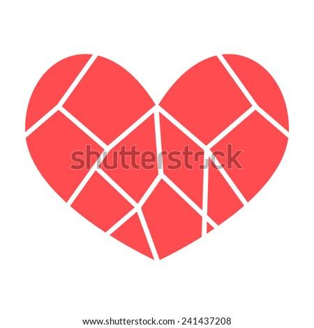 broken heart red vector flat - stock vector