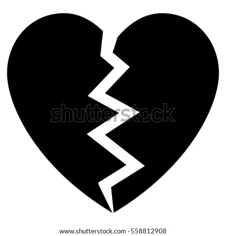 broken heart vector icon flat black stock vector 558812941