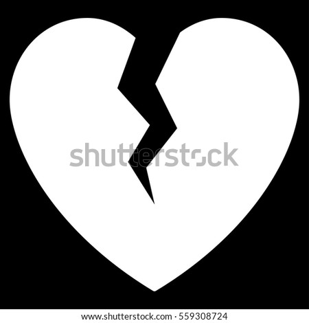 Broken Heart Vector Icon Flat Black Stock Vector 558812941 ...