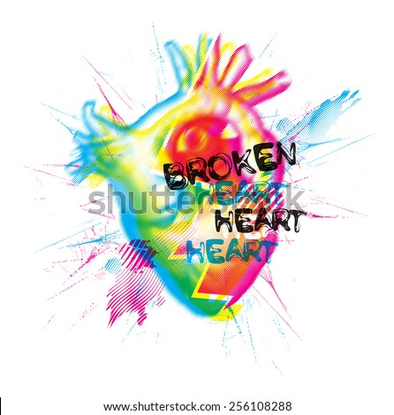 Broken heart vector illustration - stock vector
