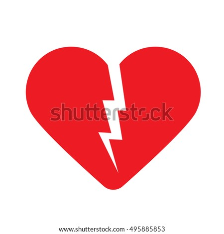 Broken heart. Vector illustration Eps10 file. Icon.