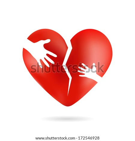 Broken heart with hands, isolated from white background - stock vector