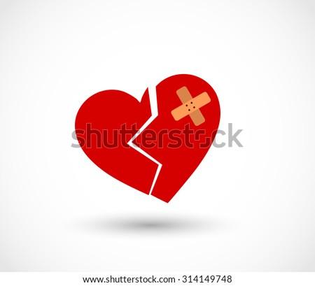 Broken heart with plaster vector - stock vector