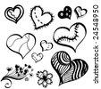 broken hearts - stock vector