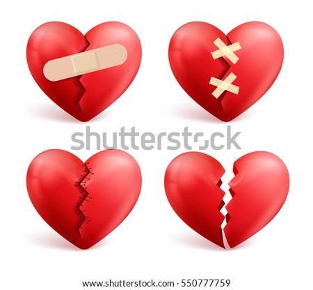 Broken Hearts Vector Set 3 D Realistic Stock Vector 550777759