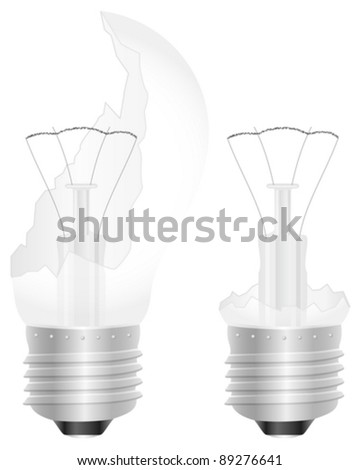 Broken light bulb on a white background. Vector illustration.