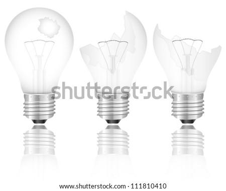 Broken light bulb set on a white background. Vector illustration. - stock vector