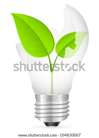 Broken light bulb with leaf on a white background. Vector illustration.