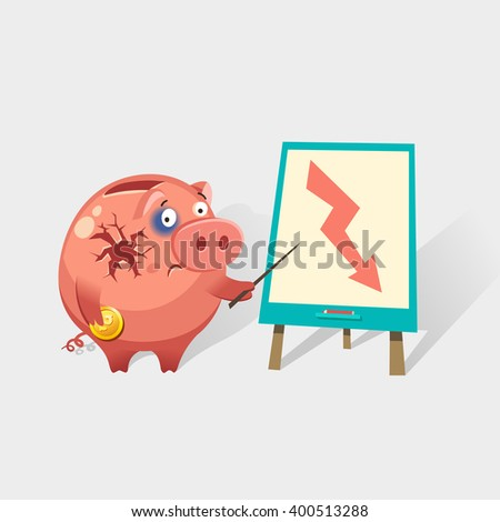 Broken Piggy Bank with business graph at flip chart. Financial crisis or economic depression concept. Colorful vector illustration in flat style - stock vector