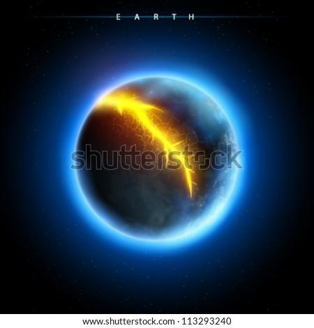 broken planet - vector - stock vector
