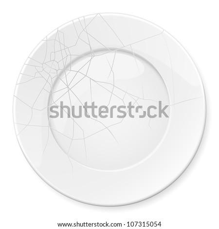Broken Plate. Illustration for design on white background - stock vector