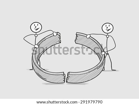 broken ring as a symbol for end of love and divorce of two people, crosshatched image - stock vector