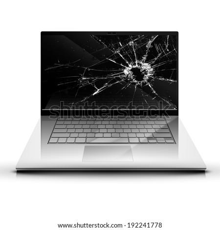 Broken screen of a laptop - stock vector