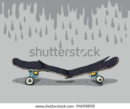 Broken skateboard - stock vector
