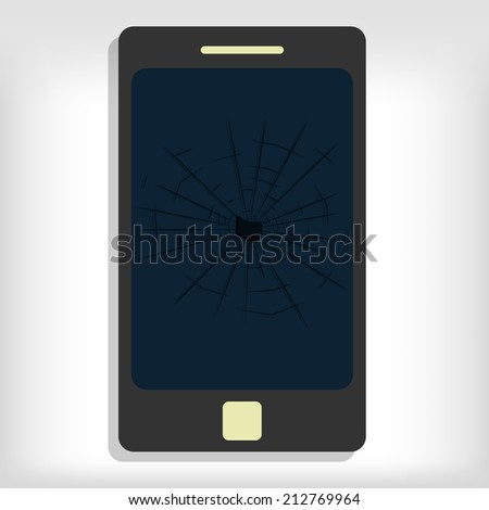 Broken smartphone monitor. Gray background. Editable. - stock vector