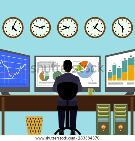 Broker sitting at workplace. Financial analysis. Graphs and charts on the monitor. Vector Image Stock. - stock vector