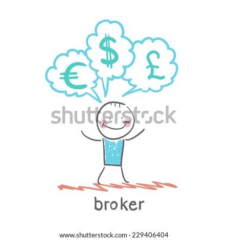 broker thinks of different currencies - stock vector
