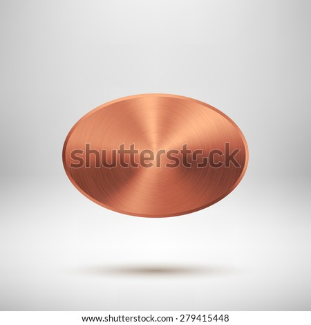 Bronze abstract ellipse badge, blank button template with metal texture (chrome, steel, copper), realistic shadow, light background for web interfaces, UI, applications and apps. Vector illustration. - stock vector