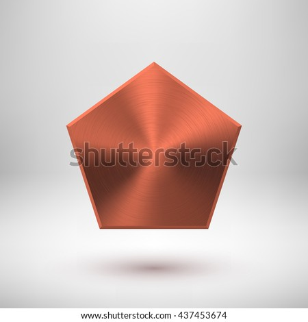 Bronze abstract polygon, hex badge, blank button template with metal texture, chrome, silver, steel, copper, rust and realistic shadow for logo, design concepts, prints, web. Vector illustration. - stock vector