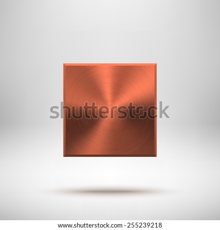 Bronze abstract square badge, technology blank button template with metal texture (chrome, steel), realistic shadow and light background for interfaces, UI, applications, apps. Vector illustration. - stock vector