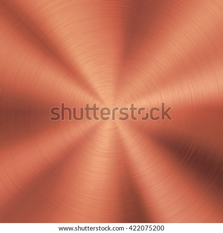 Bronze abstract technology background with polished, brushed circular metal texture, chrome, silver, steel, copper, rust for design concepts, web, posters, wallpapers and prints. Vector illustration. - stock vector