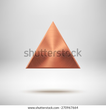 Bronze abstract triangle badge, technology blank button template with metal texture (chrome, steel), realistic shadow and light background for interfaces, UI, applications, apps. Vector illustration. - stock vector