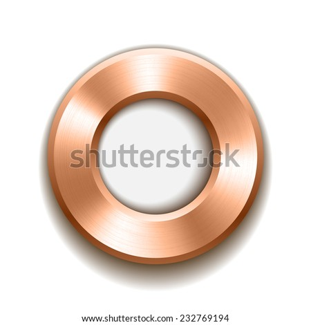 bronze donut button template with metal texture. Vector illustration.