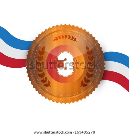 Bronze Medal, Award Isolated on White Background - stock vector