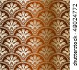Bronze seamless peacock sari pattern (Eps10); JPG version also available - stock vector